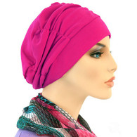FUCHSIA SHIRRED CAP TURBAN