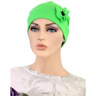 GREEN SPLASH FLAPPER CHEMO CAP WITH FLOWER