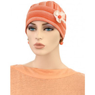 CUTE FLAPPER HAT WITH FLOWER CREAM STRIPES