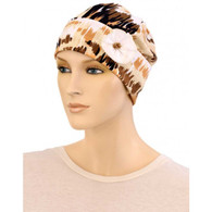 NEUTRAL FLAPPER BEANIE HAT WITH FLOWER