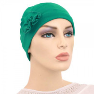 EMERALD FLAPPER HAT WITH FLOWER