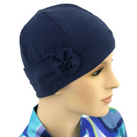 NAVY FLAPPER HAT WITH FLOWER