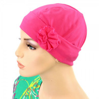 HOT PINK FLAPPER HAT WITH FLOWER