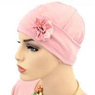 PINK COTTON FLAPPER CAP WITH FLOWER