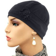 BLACK FLAPPER HAT WITH FLOWER
