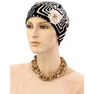 BLACK WAVES FLAPPER CAP WITH FLOWER