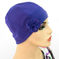 LAVENDER FLAPPER HAT WITH FLOWER