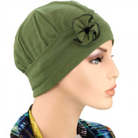 GREEN OLIVE BAMBOO FLAPPER HAT WITH FLOWER