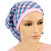 2 IN 1 KERCHIEF BANDANNA AND CHEMO CAP - BLUE TURQUOISE CHECK