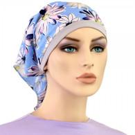 FLOWERS ON BLUE KERCHIEF BANDANNA CHEMO CAP