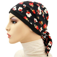 RED FLOWERS KERCHIEF - BANDANA CHEMO CAP