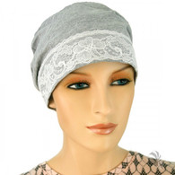 GREY COTTON SLEEP CAP