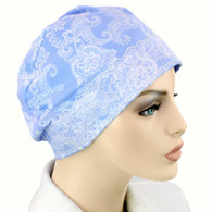 100% COTTON SLEEP CAP WHITE PAISLEY