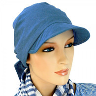 DENIM BLUE COTTON VISOR HEAD WRAP