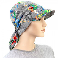 COTTON VISOR HEADWRAP ORCHIDS ON CHECK