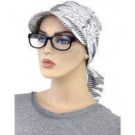 VISOR HEAD WRAP COTTON BRIMMED CAP WHITE LEAVES