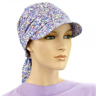 VISOR HEAD WRAP - COTTON BRIMMED CAP LITTLE FLOWERS