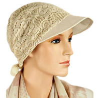 TAN BRIMMED COTTON LINED LACE HAT