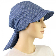 VISOR HEAD WRAP COTTON BRIMMED CAP PRINT IN DENIM