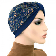 TWO TONE TURBAN HAT - GOLD PAISLEY