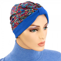 TWO TONE TURBAN HAT ROYAL PAISLEY