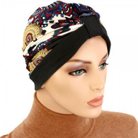 TWO TONE TURBAN HAT - PRINT ON NAVY - BLACK
