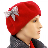 RED WOOL BERET WITH BOW ACCENT