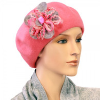 PINK WOOL BERET WITH THE FLOWER