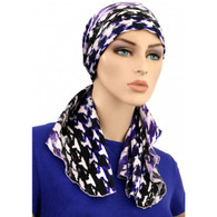 CALYPSO HEADSCARF - PURPLE ACCENT 100% COTTON LINED SCARF
