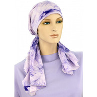 CALYPSO HEADSCARF - LAVENDER TIE DYE - COTTON LINED READY-TIED SCARF