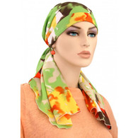 SPRING CALYPSO HEADSCARF - 100% COTTON LINED READY-TIE SCARF