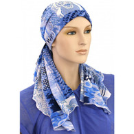 100% COTTON LINED CALYPSO HEADSCARF OCEAN PRE-TIED SCARF