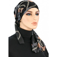 BLACK GOLD CHAIN - PRE-TIED COTTON LINED CALYPSO HEADSCARF