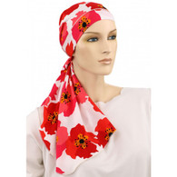 CALYPSO HEADSCARF - POPPIES 100% COTTON LINED READY-TIED SCARF