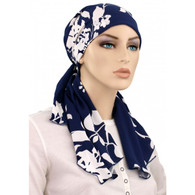 CALYPSO HEADSCARF - WHITE PINT - 100% COTTON LINED READY-TIED SCARF