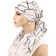 100% COTTON CALYPSO HEADSCARF BLACK LINES