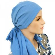 COTTON LINED CALYPSO HEADSCARF BLUE FANTASY PRE-TIED SCARF
