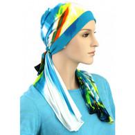 COTTON LINED CALYPSO HEADSCARF BLUE FANTASY PRE-TIED SCARF2