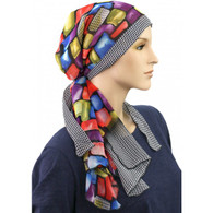 BLOCK OF COLORS PRE-TIED COTTON LINED CALYPSO HEADSCARF