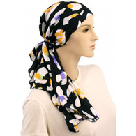 100% COTTON LINED CALYPSO HEADSCARF ACCENTS ON BLACK PRE-TIED SCARF