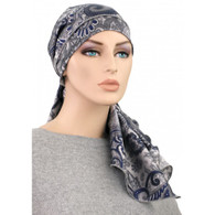 NAVY PAISLEY 100 % SILK EXCLUSIVE CALYPSO HEADSCARF