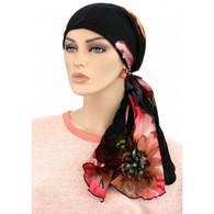 SILK CALYPSO HEADSCARF - COTTON LINED - BURNOUT FLOWERS