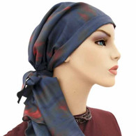 100 % SILK CHARMEUSE EXCLUSIVE CALYPSO HEADSCARF RED SUNSET