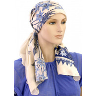 100 % SILK EXCLUSIVE CALYPSO HEADSCARF - BLUE ORNAMENTS