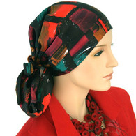 MODERN ART SILK CALYPSO HEADSCARF
