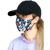 ADULT COTTON FACE MASK - 3 LAYERS - BLUE BLACK SPOTS - MEDIUM