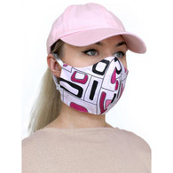 ADULT COTTON FACE MASK - 3 LAYERS - PINK ABSTRACT - MEDIUM