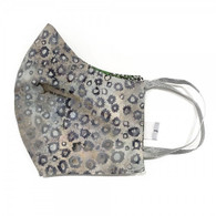 3 LAYERS COTTON FACE MASK - GREY GREEN SPOTS - LARGE