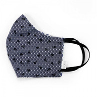 ADULT COTTON FACE MASK - 3 LAYERS - GREY/NAVY PATTERN - LARGE