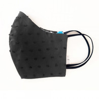 ADULT COTTON FACE MASK - 3 LAYERS - BLACK BLUE SPOTS (NON-MEDICAL)